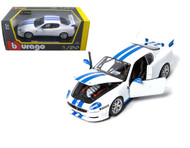 Maserati Trofeo White With Blue Stripes 1/24 Scale Diecast Car Model By Bburago 22097