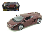 Lamborghini Gallardo Burgundy 1/24 Scale Diecast Car Model By Bburago 22051