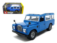 Old Land Rover Blue 1/24 Scale Diecast Car Model By Bburago 22063
