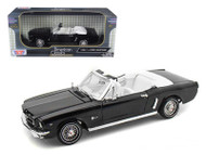 1964 1/2 Ford Mustang Convertible Black 1/18 Scale Diecast Car Model By Motor Max 73145