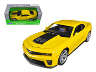 Chevrolet Camaro ZL1 Yellow Black Stripes 1/24 Scale Diecast Car Model By Welly 24042