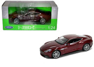 Aston Martin Vanquish Burgundy 1/24 Scale Diecast Car Model By Welly 24046