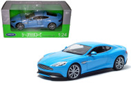 Aston Martin Vanquish Blue 1/24 Scale Diecast Car Model By Welly 24046