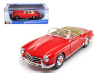 1955 Mercedes Benz 190SL Convertible Red 1/18 Scale Diecast Car Model By Maisto 31824