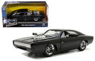 1970 Dodge Charger R/T Fast And Furious Doms Black 1/24 Scale Diecast Car Model By Jada 97059