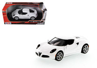 Alfa Romeo 4C White 1/24 Scale Diecast Car Model By Motor Max 79320