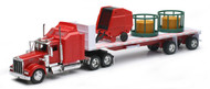 Newray 1/32 Scale Kenworth W900 With Round Farm Hay & Feeder Semi Truck 10363