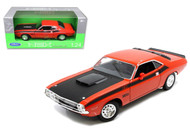 1970 Dodge Challenger T/A Orange 1/24 Scale Diecast Car Model By Welly 24029
