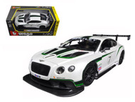Bentley Continental GT3 Racing White 1/24 Scale Diecast Car Model By Bburago  28008