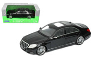 Mercedes Benz S Class Black 1/24 Scale Diecast Car Model By Welly 24051