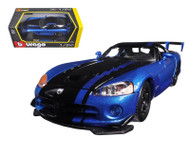 Dodge Viper SRT10 ACR Blue & Black 1/24 Scale Diecast Car Model By Bburago 22114