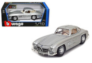 1954 Mercedes Benz 300SL Gullwing Silver 1/18 Diecast Car Model By Bburago 12047
