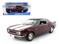 1968 Chevy Camaro Z28 Coupe Hard Top Maroon 1/18 Scale Diecast Car Model By Maisto 31685