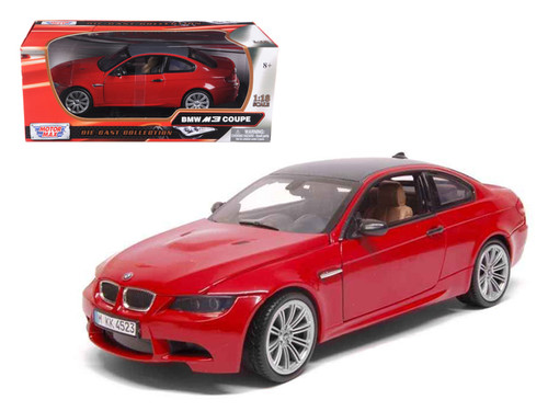 BMW M3 Coupe Red Carbon Fiber Roof 1/18 Scale Diecast Car Model By Maisto 73182