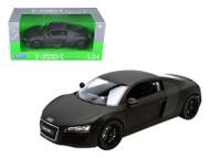 Audi R8 V10 Matte Flat Black 1/24 Scale Diecast Car Model By Welly 22493