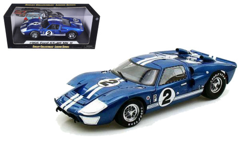 1966 Ford GT-40 MK II #2 1/18 Scale Diecast Car Model By Shelby Collectibles SC 401