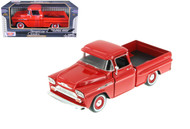 1958 Chevy Apache Fleetside Pick Up Truck Red 1/24 Scale Diecast Model By Motor Max 79311