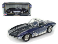 1961 Mako Shark Chevy Corvette Stingray Blue 1/18 Scale Diecast Car Model By Motor Max 73102