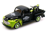 1948 Ford F1 Pick Up Truck Black & Green & FL Panhead Harley Davidson Motorcycle 1/24 Scale Diecast Model By Maisto 32171