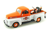 Maisto 1/24 Scale 1948 Ford F1 Pick Up Truck Orange & White & FL Panhead Harley Davidson Motorcycle Diecast Model 32171
