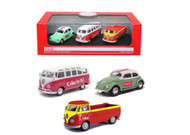 Coke Coca Cola VW Volkswagen Beetle Bug Samba & T1 Pick Up Gift Set 1/72 Diecast Model By Motor City Classics 458385
