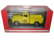 Motor City Classics MCC 1/43 Scale Coke Coca Cola 1955 Chevy Step Side Pickup Truck Yellow Diecast Model 430001