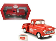 Motor City Classics MCC 1/24 Scale Coke Coca Cola 1955 Chevy Step Side Pick Up Truck Red Diecast Model 435683