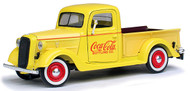 Motor City Classics MCC 1/24 Scale Coke Coca Cola 1937 Ford Pick Up Truck Yellow Diecast Model 433213
