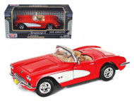 1959 Chevrolet Corvette Convertible Red 1/24 Scale Diecast Car Model By Motor Max 73216