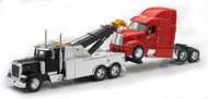 Newray 1/32 Scale Peterbilt Tow Truck With Red Peterbilt Cab Semi Truck 12053