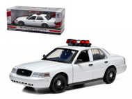 Ford Crown Victoria Unmarked Plain White Police Car Interceptor With Lights & Sounds 1/18 Scale Diecast Car Model By Greenlight 12921