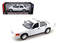 2001 Ford Crown Victoria White Unmarked Interceptor Police Car 1/18 Scale Diecast Car Model By Motor Max 73517