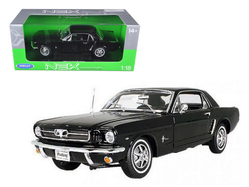 1964 1/2 Ford Mustang Coupe Black 1/18 Scale Diecast Car Model By Welly 12519