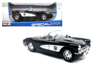 1957 Chevy Corvette Highway Patrol Police 1/18 Scale Diecast Car Model By Maisto 31380