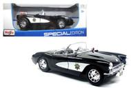 1957 Chevy Corvette Highway Patrol Police 1/18 Scale Diecast Car Model By Maisto 31380
