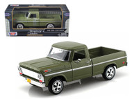 1969 Ford F-100 Pickup Truck Green 1/24 Scale Diecast Model By Motor Max 79315