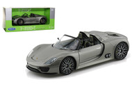 Porsche 918 Spyder Silver 1/24 Scale Diecast Car Model By Welly 24031