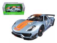Welly 1/24 Scale Porsche 918 RSR Blue Silver Racing #22 Diecast Car Model 24044