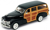 1948 Chevy Fleetmaster Woody Wagon Brown 1/24 Scale Diecast Car Model By Welly 22083