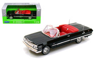 1963 Chevrolet Chevy Impala Convertible Black 1/24 Scale Diecast Car Model By Welly 22434