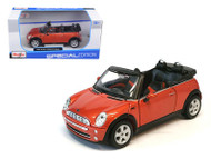 Mini Cooper Cabrio Convertible Orange 1/24 Scale Diecast Car Model By Maisto 31998