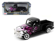 1940 Ford Pick Up Truck Black With Flames 1/18 Scale Diecast Model By Motor Max 73170