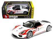 Porsche 918 Spyder Weissach #3 Racing 1/24 Scale Diecast Car Model By Bburago 28009