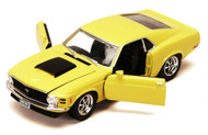 1970 Ford Mustang Boss 429 Yellow 1/24 Scale Diecast Car Model Motor Max 73303