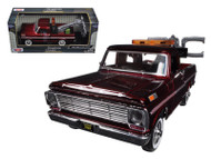 1969 Ford F-100 Tow Truck Wrecker Burgundy 1/24 Scale Diecast Car Model By Motor Max 75345