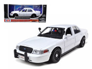 2010 Ford Crown Victoria Police Interceptor Unmarked White 1/24 Diecast Car Model By Motor Max 76932