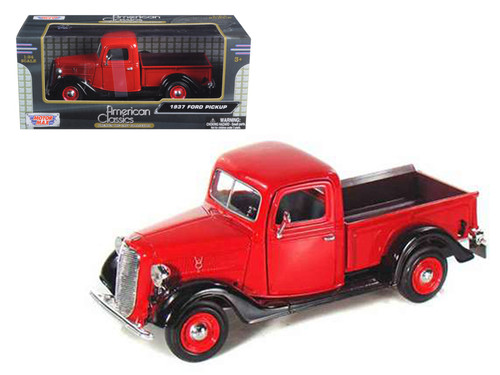 1937 Ford Pickup Truck Black & Red 1/24 Scale Diecast Model BY Motor Max 73233