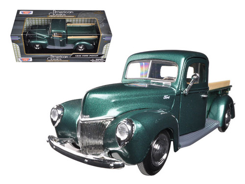 1940 Ford Pick Up Truck Green 1/24 Scale Diecast Model By Motor Max 73234