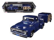 Motor Max 1/24 Scale 1956 Ford F-100 Pickup Truck Blue With Tear Drop Trailer Diecast Car Model 75235