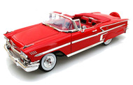1958 Chevrolet Impala Convertible Red 1/24 Scale Diecast Car Model By Motor Max 73267